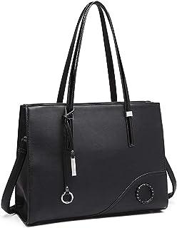 Miss Lulu Handtaschen Damen Schultertasche Große Elegante Aktentasche für Arbeit Reise (Schwarz)
