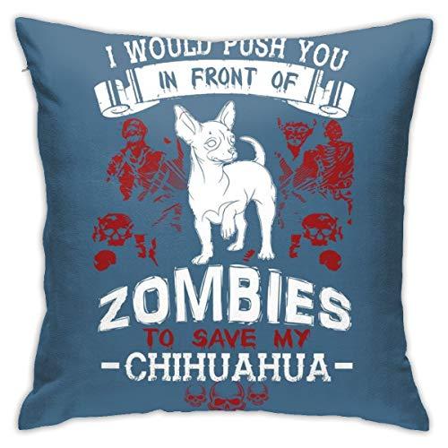 HONGYANW Chihuahua Zombies Funda de almohada, impresión de doble cara, funda de almohada con cremallera oculta, hermosa funda de almohada con patrón impreso de 45,7 x 45,7 cm