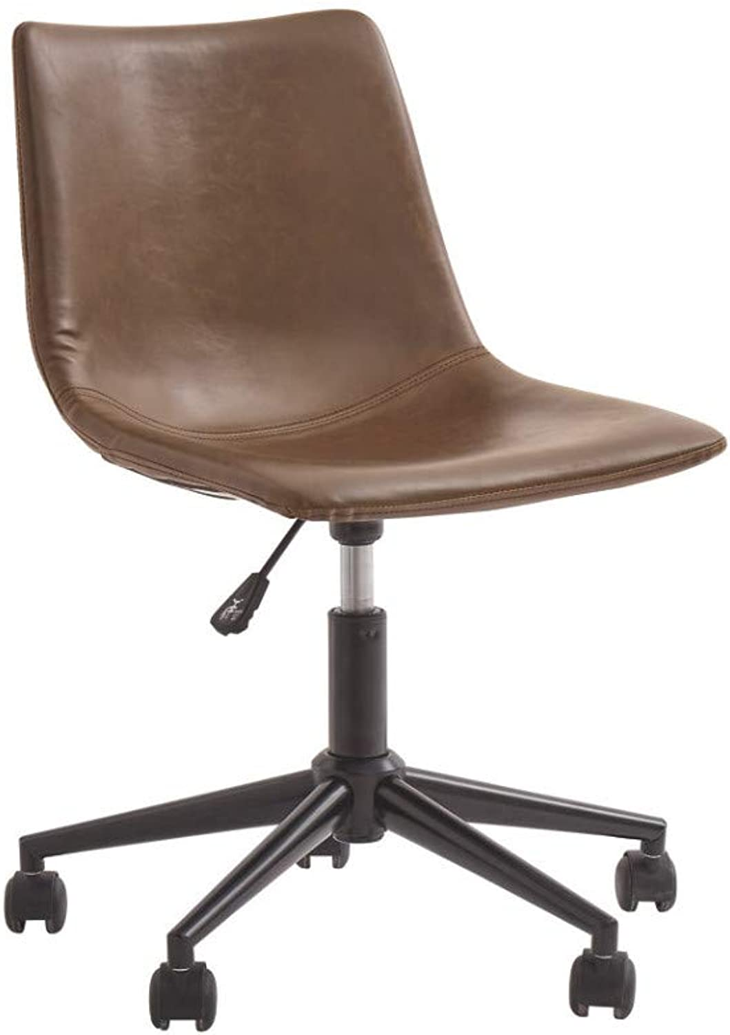 Benzara BM190090 Metal Swivel Chair with Faux Leather Upholstery and Adjustable Seat, Brown and Black