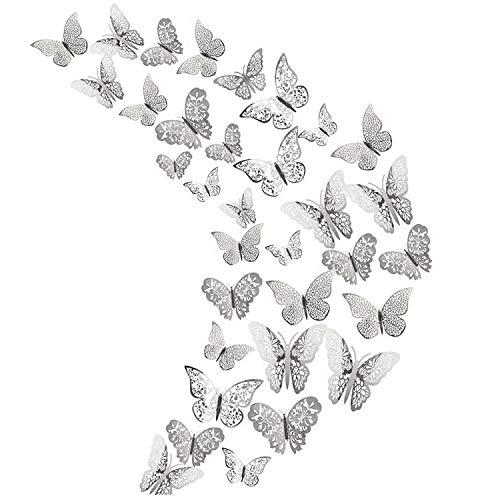 Lot de 36 stickers muraux 3D en forme de papillon doré pour décoration de maison, de réfrigérateur, de chambre, de fête, de mariage