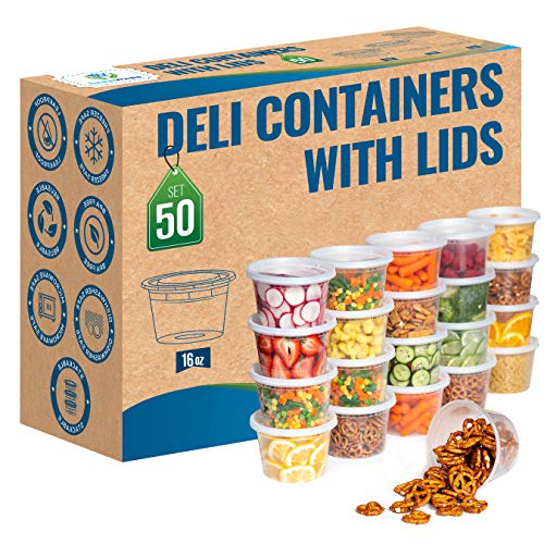 16oz Deli Food Storage Containers with Lids (set of 50) - Freezer Safe