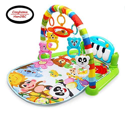 Cozyhoma Kick and Play Piano Gimnasio, Born Baby Play Mat con Centro de Actividad, Música y Sonidos Juguetes Pad para o niño y niña 0 – 36 Meses Colorful 60x74x42cm