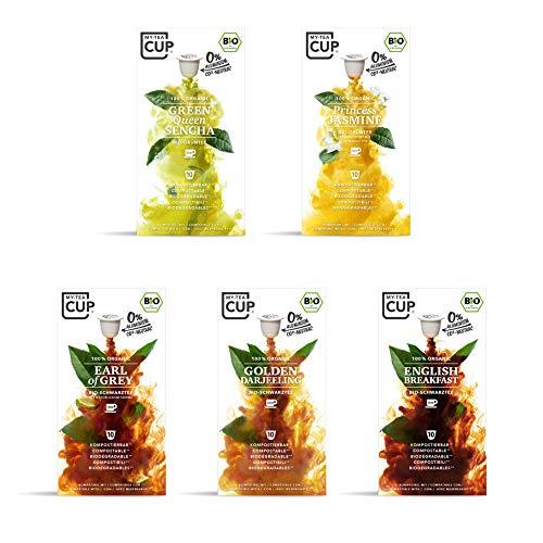 My-TeaCup – KLASSIKER BOX: 5 x 10 BIO-TEEKAPSELN I 5 SORTEN BIO-TEE (GRÜN- & SCHWARZTEE) I 50 Kapseln für Nespresso®*Kapselmaschinen I 100% industriell kompostierbare & nachhaltige Teekapseln – 0% Alu