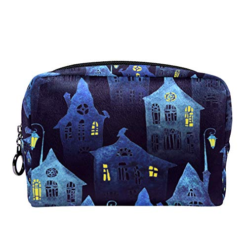 Cosmetic Bag Womens Makeup Bag for Travel to Carry Cosmetics,Change,Keys etc Seamless Pattern with an Old City in The Night