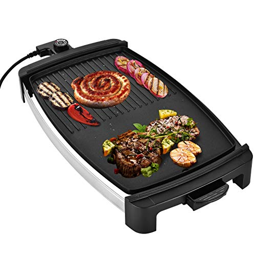Venga! VG GR 3020 - Piastra Plancha Teppanyaki con griglia a bistecchiera e temperatura regolabile, 2000 W - Nero argento
