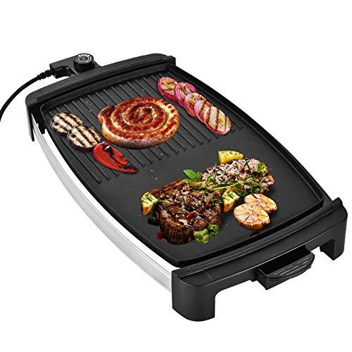 Venga! Teppanyaki Tischgrill, großer Kochbereich mit gerippter Grilloberfläche, einstellbarer Temperaturregelung, 2000 W, Schwarz/Silber, VG GR 3020
