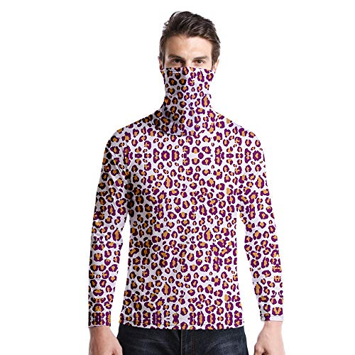 T-Shirt À Manches Longues,Col Rond À Manches Longues Décontracté Imprimé Imprimé Imprimé Léopard Rose Violet Unisex T-Shirt Tops Imprimé Chemisier Body Shirt avec Écharpe Hommes Femmes AUT