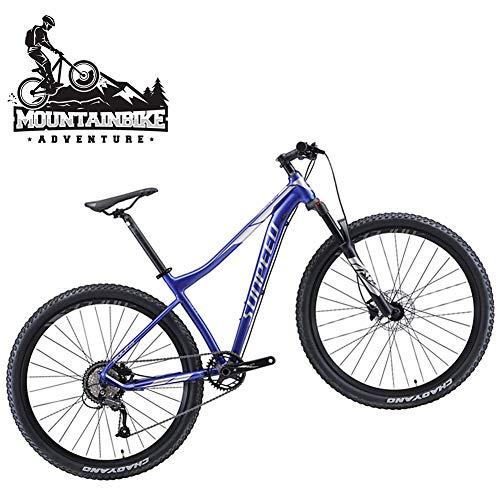 NENGGE Adulti Mountain Bike con Freno a Disco Idraulico per Uomo/Donna, Leggero 9 velocità Mountain Biciclette, Sospensioni Anteriori & Telaio Lega di Alluminio,Blue l,29 inch