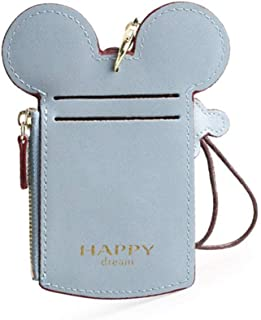 COCO LEE Chic Cute Travel PU Leather Student ID Card Holder Lanyard Neck Pouch Bag With Coin Wallet Purse for School Students Women Kids Teens Girls (Blue)