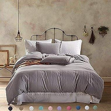 Meaning4 Pom poms Fringe Duvet Cover Set Polyester King or California King Size Light Gray or Grey 3 pcs(1 duvetcover + 2 Pillowcase)
