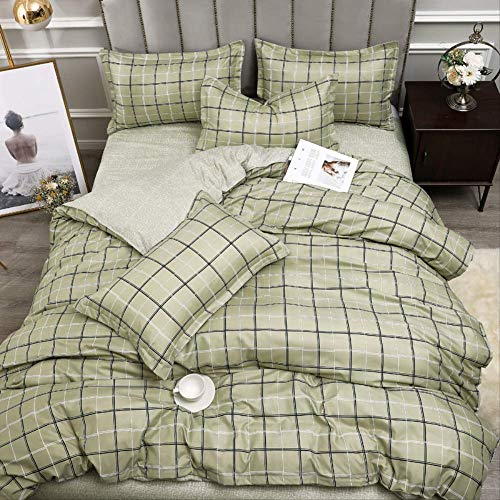 JOEYFAYE Grey Lattice Duvet Cover Double Bed 135 * 200Cm, Microfiber Double Layer Bed Ding Set With Pillowcase Zipper Closure.