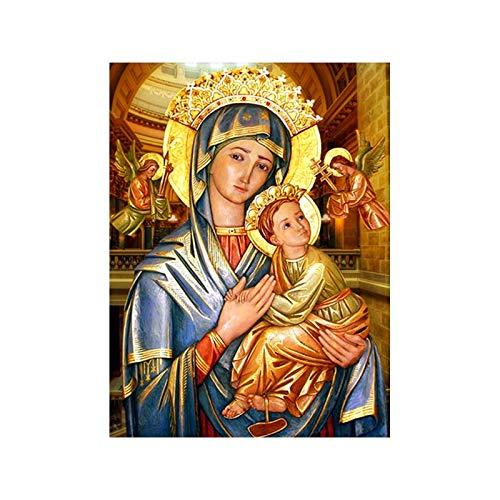 5d Diamante Pintura Virgen María religiosa icon Punto de Cruz bordado Semi acabado Redondo y Diamante Completo Kit de bordado en pintura de diamante punto de Cruz