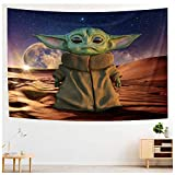 Wall Tapestry Yoda Baby Party Supplies Decoration Wall Hanging Decor Beach Blanket Tablecloth Backdrop Handicrafts Polyester Tabletop Buffet Home Bedroom Living Room Dorm Wall Party Decor 6.56 x 4.92 ft