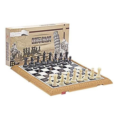 LICHUAN Juego de ajedrez plegable de plástico estándar de viaje internacional juego de tablero de ajedrez con piezas magnéticas de ajedrez para juegos de mesa de fiesta familiar (tamaño XL: