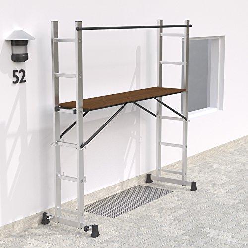 tectake Échafaudage Mobile en Acier Plate-Forme de Travail échelle Multifonction Roulant