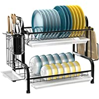 Ispecle Stainless Steel 2-Tier Dish Rack with Utensil Holder