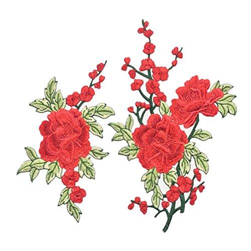 Brightup 2 Stück Gestickte Pflaumenblüten Blumen Patch nähen auf Applique DIY Craft