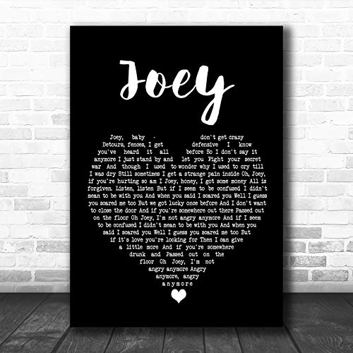 #Concrete Blonde Joey Black Heart Song Lyric Lovers Poster Wall Decor Art Gifts