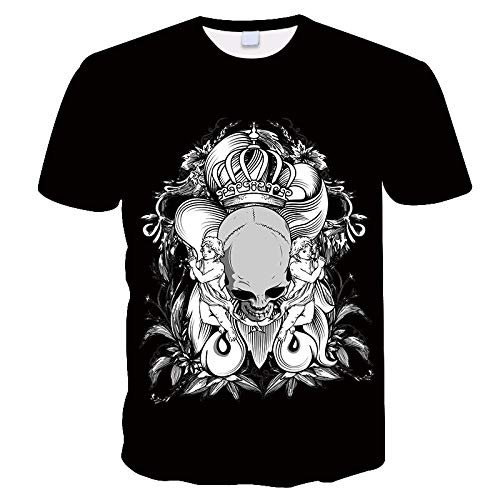 3D Cartoon Crown Skull Angel Print T-Shirt,Black Quick-Drying Breathable Short-Sleeved Shirt,Unisex Round Neck Personality Top,Loose Sweatshirt-S