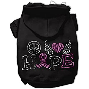 Mirage Pet Products 12″ Peace Love Hope Breast Cancer Rhinestone Pet Hoodie