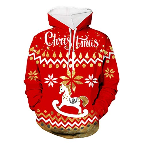 Lowest Prices! Unisex Men Women Ugly Hooded Sweatshirts Long Sleeve Pullover 3D Print Christmas Hood...