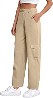 SheIn Women's High Waisted Solid Cargo Pants Baggy Trousers with Pockets