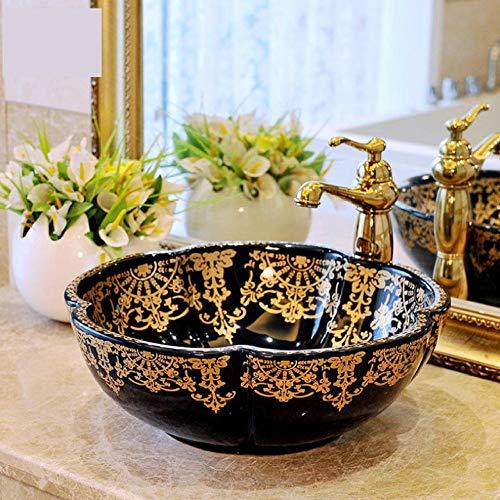 Jgophu Lavabo artístico hecho a mano en China, lavabo de cerámica, lavabo de hotel, lavabo de oro negro con forma de flores
