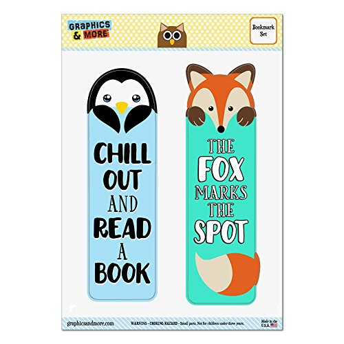 Set of 2 Glossy Laminated Bookmarks - Animals Pets - Penguin Chill Out and Read a Book and Fox The Fox Marks The Spot