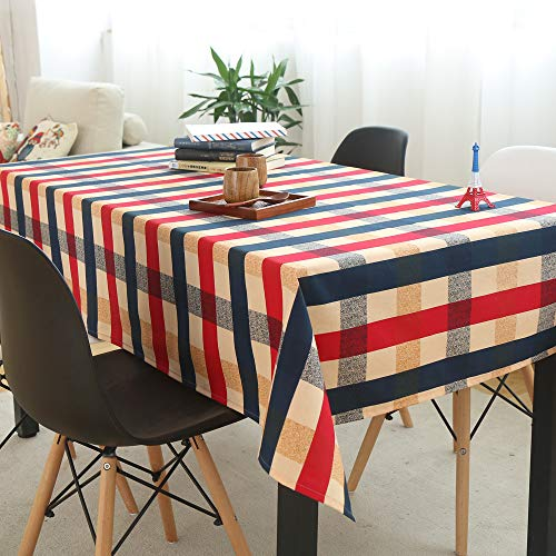 Wrinkle Free Cotton Linen Blend 4th of July Tablecloth