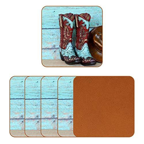 Posavasos de cuero para bebidas, botas de vaquero y sombrero, apoyados en azul, diseño rústico, de madera, para proteger muebles, resistente al calor, decoración de bar de cocina, juego de 6