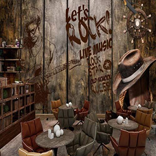 Papel pintado vintage personalidad madera música rock pared mural decoración bar KTV papel tapiz de fondo para paredes en rollos @ 150 * 105 cm
