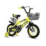 DDXY-Bicicletas para Niños Bicicletas para Niñas Bicicleta Deportes Ciclismo Al Aire Libre para Niños de 6 A 13 Años con Botella de Agua y Rueda Auxiliar,Amarillo,14 Inch