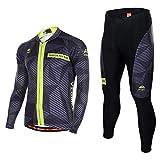 Asvert Fahrradbekleidung, Männer Langarm-Radfahren Jersey Set Mountain Biking Anzug Kleidung Kompression Hosen,Grau und schwarz,XXXL