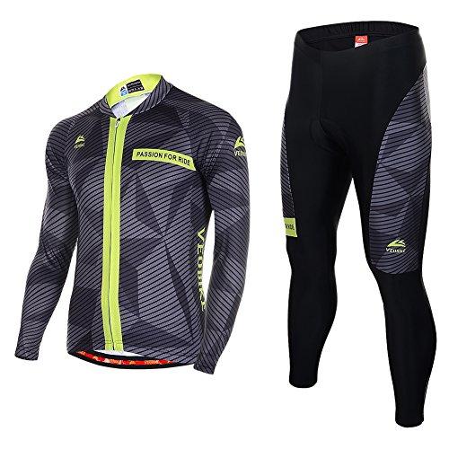 Asvert Fahrradbekleidung, Männer Langarm-Radfahren Jersey Set Mountain Biking Anzug Kleidung Kompression Hosen,Grau und schwarz,XL