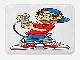 Lunarable Jugador Tapete para Baño, De Dibujos Animados Niño Loco Ojos Divertidos, Decorativo de Felpa Estampada con Dorso Antideslizante, 29.5' X 17.5', Multicolor