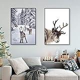 ThinkingPower Nordic Snow Weihnachten Rentier Poster Druck