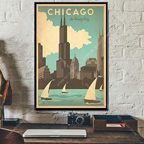 Pintura de arte en lienzo 30x50cm sin marco Ciudades de viaje Vintage Paisaje Nueva York Toronto Holanda Decoración del hogar