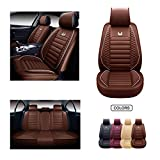 OASIS AUTO Leather Car Seat Covers, Faux Leatherette Automotive Vehicle Cushion Cover for Cars SUV Pick-up Truck Universal Fit Set for Auto Interior Accessories (OS-011 Full Set, Brown)