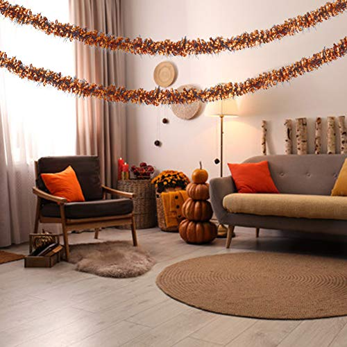 COVFEVER 2 Pack Halloween Metallic Tinsel Twist Garland 12FT Long, Perfect for Halloween Decorations Indoor Outdoor (Orange)