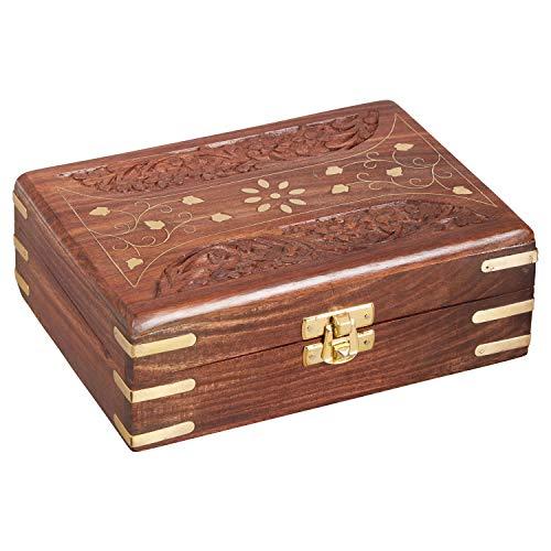 Oosterse kleine opbergdoos met deksel Dice 18 cm groot | Oosterse sieradendoos voor meisjes en dames voor het bewaren van sieraden | Marokkaanse kistje box van hout