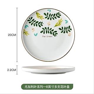 Plantas de cerámica Vajilla Plato de arroz para una persona Plato principal Sushi Plato de ramen Sopa redonda casera Sopa de fideos Ensaladera Taza de lecheE-8 pulgadas