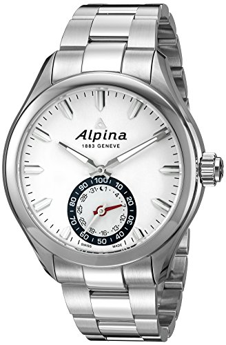 Alpina Horological Smartwatch Mens Calendar Quartz Light Silver Dial...
