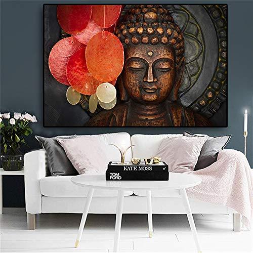 RTCKF Abstrakte Meditations-Buddha-Malerei auf Leinwand, religiöse Plakate und Drucke, Zen-Gemälde, Moderne Wohnzimmerwandbilder (ohne Rahmen) A6 70x100cm