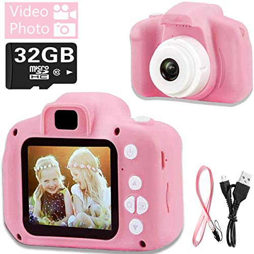 Hoiidel Kids Camera Toy, Children Digital Video Camcorder Camera, 2 Inch 1080P Rechargeable Action Camera, Birthday Christmas Holiday Presents for 3-9 Year Old Girls and Boys (32G SD Card Include)