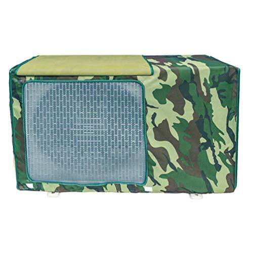 Cubierta de aire acondicionado exterior, cubierta del climatizador para exteriores, antipolvo, antinieve, impermeable, protector de aire acondicionado (verde militar camuflaje, L)