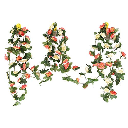 Daliuing 2PCS Artificial 45 red Flower Vine Roses Garland Vine Plant Flower Leaves Perfect for Wall Decoration, Wedding, Bridal,Christmas