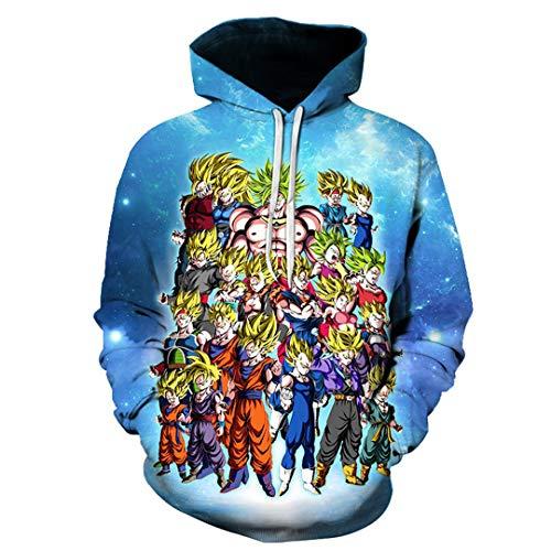 Marico Unisex 3D Printed Anime Theme Sweatshirt Neuheit Personalisierter Hoodie Lässiges Sweatshirt Mit Tunnelzug und Taschen Sweatshirt Kapuzenjacke Comic Fans Pullover,B,S