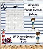 Tu Fiesta Mola Mazo Photocall de Comunión de Rayas marineras 100x100cm  Photocall Económico y Original   Detalles Comunión  Personalizable