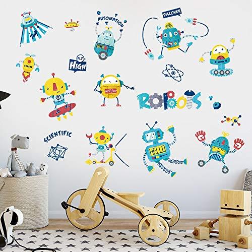 Stickers Muraux de Bande Dessinée Robot Vaisseau Spatial Créatif Salle Des Enfants Décoration Garçon Chambre Garde Robe Porte Stickers Nursery
