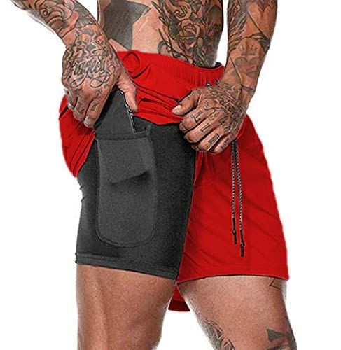 Malavita Men's Workout Running Shorts 2 in 1 with Zipper Pockets Red X-Large(Waist:31.5